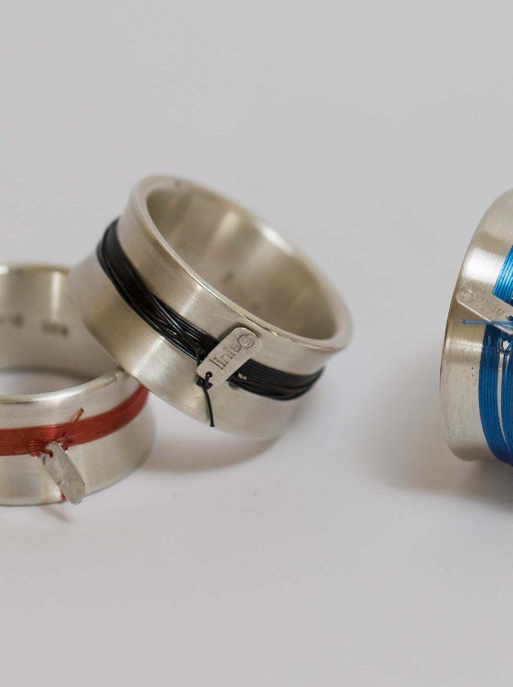 Ring mit Nylon in 925/- Silber